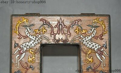 Old China Bronze Lacquerware Carved Auspicious Sika deer Jewelry Case Box Boxes 5