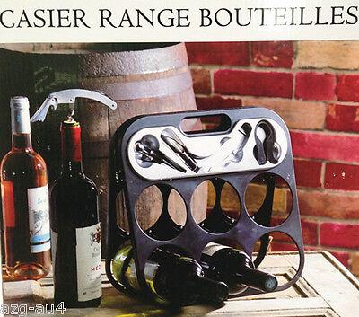 4Pc Bottle Drinks Holder Rack Storage Corkscrew Stopper Wine Set Holds 6 Bottles 3