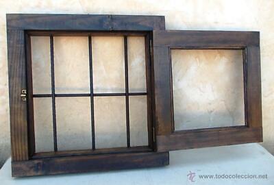 ventana rustica madera , medida 50x50 con rejas en cruz ,, forjada,  ve16 2