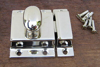 Reproduction Large Solid Brass Cabinet Latch (Polished Nickel) 2