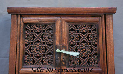 """23.2"""" Old China Huanghuali Wood Dynasty Palace Carving Dragon Cupboard Cabinet 2"""