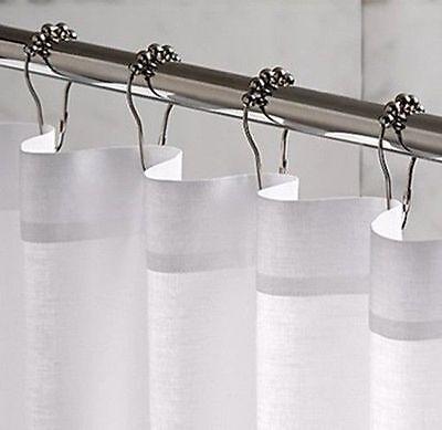 Set Of 12 Brushed Nickel Bathroom Shower Curtain Rings Hooks