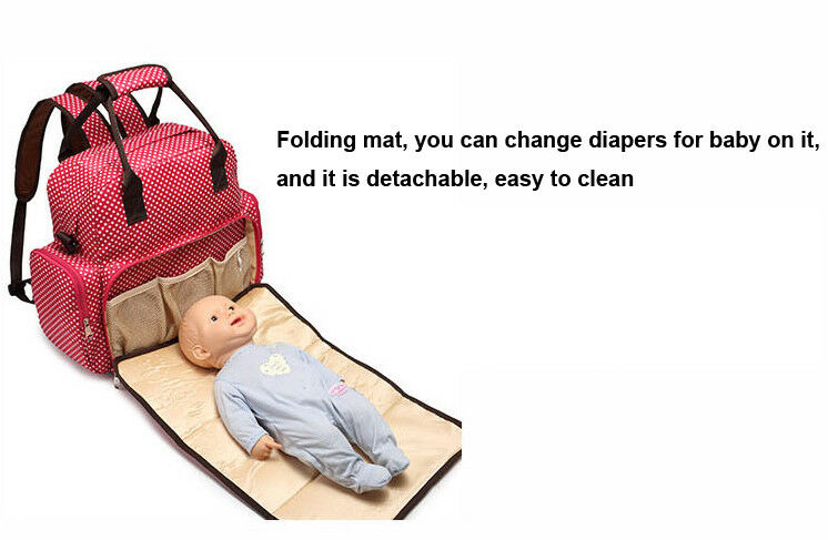Large Capacity Mummy Bag Baby Diaper Nappy Maternity Changing Travel Backpack US 5