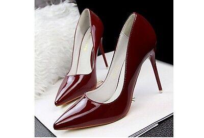 ... Décollte Scarpe decolte donna tacco spillo 10 cm stiletto rosso  bordeaux 8639 2 3453b2f08b9