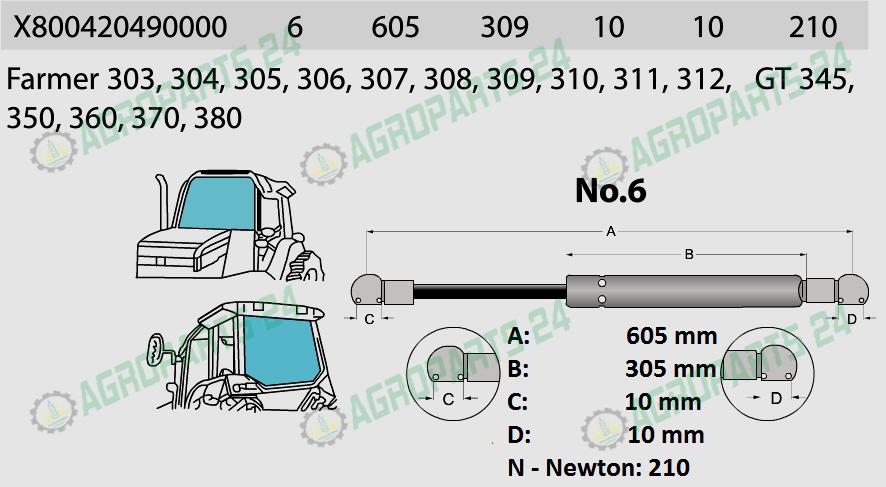 Fendt Farmer Gasdruckfeder Frontscheibe Seitenscheiben F258514210020