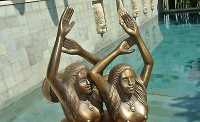 """PAIR large MERMAID solid brass door PULL old style heavy house handle 15"""" aged B 3"""