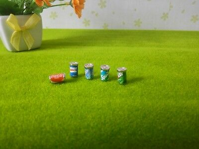 5 Dollhouse Miniature Soda Pop Cans Kitchen Food Drink Beverage Cola Pepsi 1/12 12