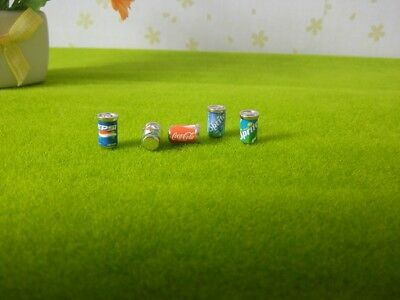 5 Dollhouse Miniature Soda Pop Cans Kitchen Food Drink Beverage Cola Pepsi 1/12 11