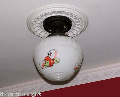 181 Vintage 30's 40s Ceiling Light Lamp Fixture Glass kitchen Re-Wired 7