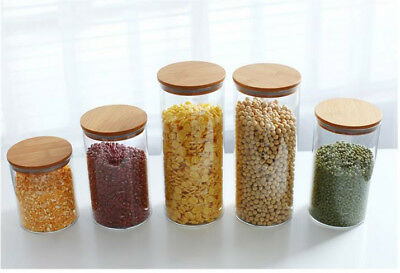 Vorratsglas aus Glas Vorratsgläser Vorratsdose Glasbehälter mit Bambus Deckel 4