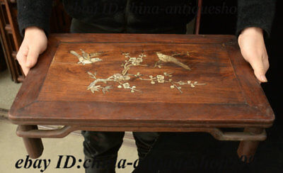 "19"" Chinese Huali Wood Inlay Shell Flower Bird Table Tea-Things Teapoy End table 12"