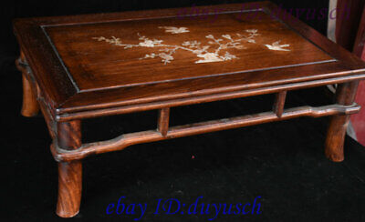 "21"" Chinese Huanghuali Wood Inlay shell Bird flowers Furniture table Desk Tables 2"