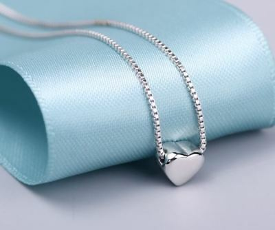 Cute Heart Charm Pendant 925 Sterling Silver Chain Necklace Women Jewellery Gift 2