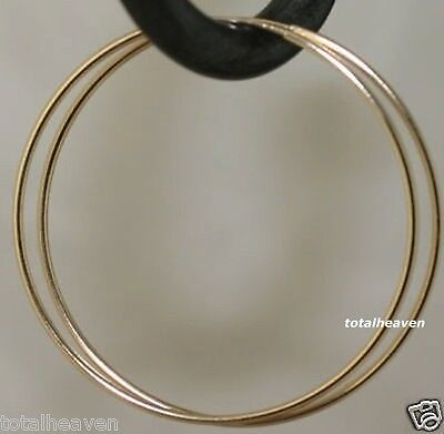 3 Of 7 Clic Solid 14k Yellow Gold Endless Hoop Earrings 1 1mm Y Skinny Hoops