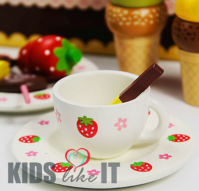 Kids GIRLS Wooden Pink Strawberry Pretend Play Tea Cup PARTY Toy SET Gift NEW