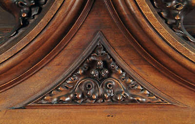 A Monumental Gothic Style Carved Walnut & Polychrome Decorated Fireplace 2
