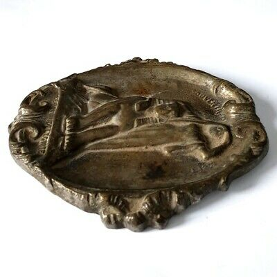 Antique Brass Plaque Dish Ashtray 3D Engraved Sphinx and Egyptian Woman Stamped 10