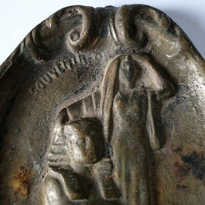 Antique Brass Plaque Dish Ashtray 3D Engraved Sphinx and Egyptian Woman Stamped 4