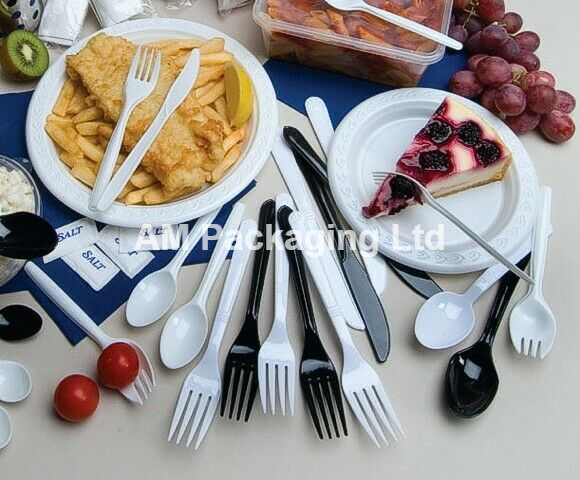 300 BLACK Plastic Cutlery 100 Each Forks Knives and Spoons disposable party BBQ 3