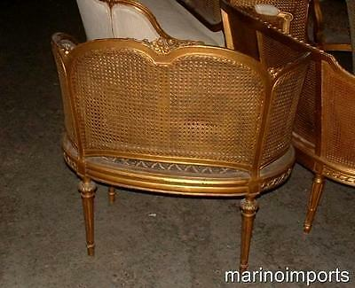 19th C. French Louis XVI Cane Corbeille Settee Chair~ 11