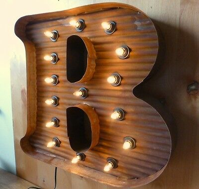"LG BROWN VINTAGE STYLE LIGHT UP MARQUEE LETTER B, 24"" TALL novelty rustic sign 3"
