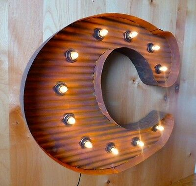 """LARGE VINTAGE STYLE LIGHT UP MARQUEE LETTER C, 24"""" TALL industrial rustic sign"""