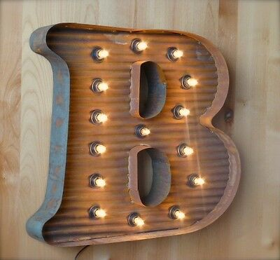 """LG BROWN VINTAGE STYLE LIGHT UP MARQUEE LETTER B, 24"""" TALL novelty rustic sign"""
