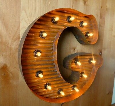 """LG BROWN VINTAGE STYLE LIGHT UP MARQUEE LETTER G, 24"""" TALL novelty rustic sign 2"""