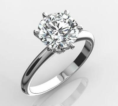 2 Ct Real Natural Diamond Engagement Ring Round Cut D Si1 14K White Gold 5