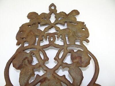 Antique Old Brown Metal Decorative Floral Architectural Towel Coat Hanger Hook 9
