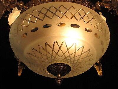 chandelier BRONZE & GLASS w/ MERMAIDS  sculptures 7