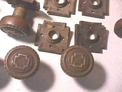 1905 Russell & Erwin Andros Brass Knobs & Plates- Cross 4