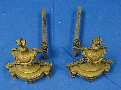 PAIR of ANTIQUE BRONZE LOUIS XVI REVIVAL CHENET ANDIRONS with GORGON * FANTASTIC 5