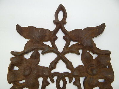 Antique Old Brown Metal Decorative Floral Architectural Towel Coat Hanger Hook 11