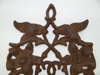Vintage Used Brown Metal Decorative Floral Architectural Towel Coat Hanger Hook 11