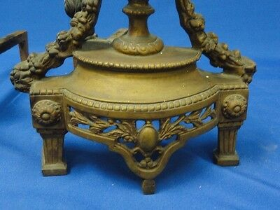 PAIR of ANTIQUE BRONZE LOUIS XVI REVIVAL CHENET ANDIRONS with GORGON * FANTASTIC 3
