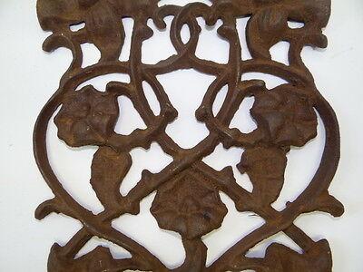 Antique Old Brown Metal Decorative Floral Architectural Towel Coat Hanger Hook 8