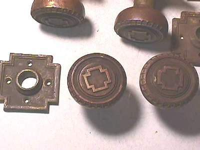 1905 Russell & Erwin Andros Brass Knobs & Plates- Cross 3