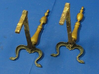 American Federal Style Brass & Cast Iron Andirons 6