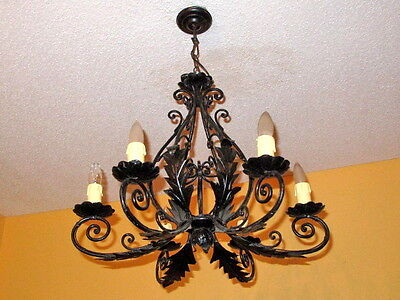 Classic light fixture CHANDELIER CAST IRON VINTAGE FRENCH PROVINCIAL 10