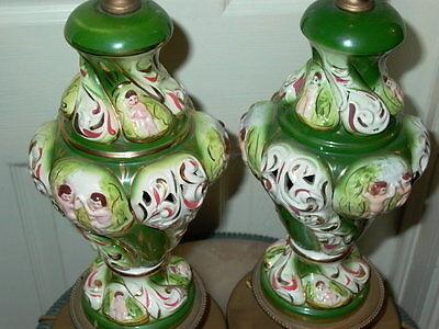 2 Capodimonte Italy Antique Porcelain Cherub Table Lamp Lamps 3