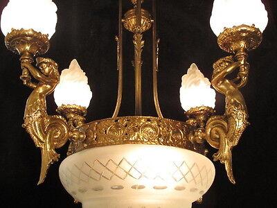 chandelier BRONZE & GLASS w/ MERMAIDS  sculptures 8