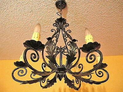 Classic light fixture CHANDELIER CAST IRON VINTAGE FRENCH PROVINCIAL 7