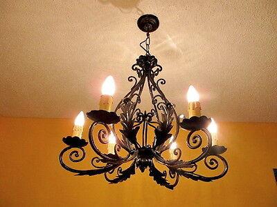 Classic light fixture CHANDELIER CAST IRON VINTAGE FRENCH PROVINCIAL 2
