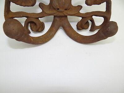 Antique Old Brown Metal Decorative Floral Architectural Towel Coat Hanger Hook 12