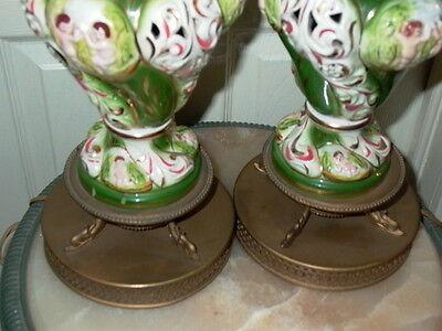 2 Capodimonte Italy Antique Porcelain Cherub Table Lamp Lamps