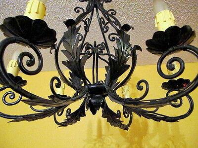 Classic light fixture CHANDELIER CAST IRON VINTAGE FRENCH PROVINCIAL 8