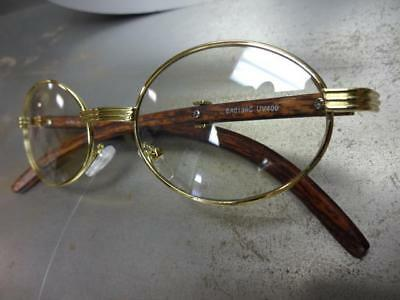 543ef304f34a ... Mens CLASSY MODERN Clear Lens EYE GLASSES Oval Gold   Wood Wooden  Effect Frame 9