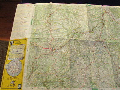 Vintage 1968 Michelin France #76 Aurillac  ST Etienne Road Map in French 4