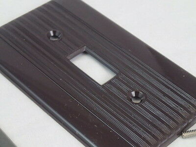 2 Mid Century Reliance Ribbed Bakelite Brown Single Switch Cover Plates NEW NOS 2